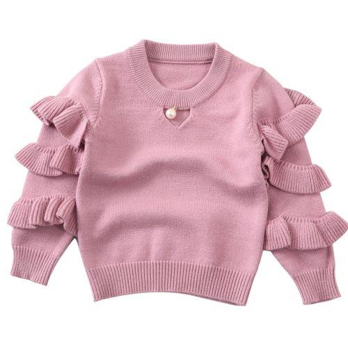 New Children Girls Sweater Knitted Kids Sweaters Ruffles Sleeve Baby Girls Sweaters