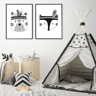 3PCS Wall Pctures for Boys Room Nordic Decoration Kids Bedroom Indian Animal Art Posters Canvas Painting