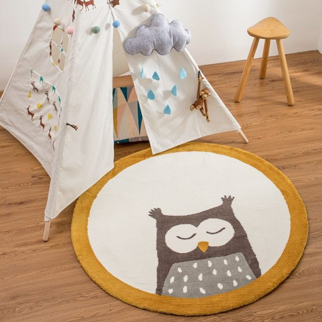 Nordic Kids Room Decoration Cartoon Animals Round Carpet play Floor Mat Bedroom Blanket Tent Anti-Slip Playmat