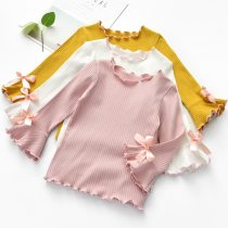 Girls Undershirt Long-sleeved T-shirt Solid Color Cotton Spring and Autumn White T-shirt