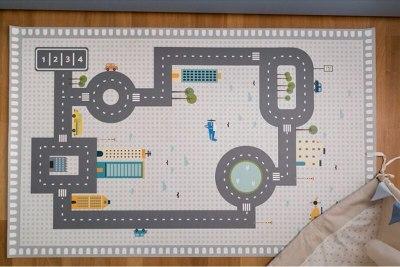 Kids Play Game Mat Rectangle Carpet Car Track Rugs Road Print Crawling Mat Floor Carpet Baby Room Decoration