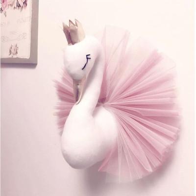 Baby Room Decor Animal Head Wall Decoration Swan Toys Dolls Girls Bedroom Accessories