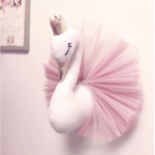 Baby Room Decor Animal Head Wall Decoration Swan Toys Dolls Girls Bedroom Accessories