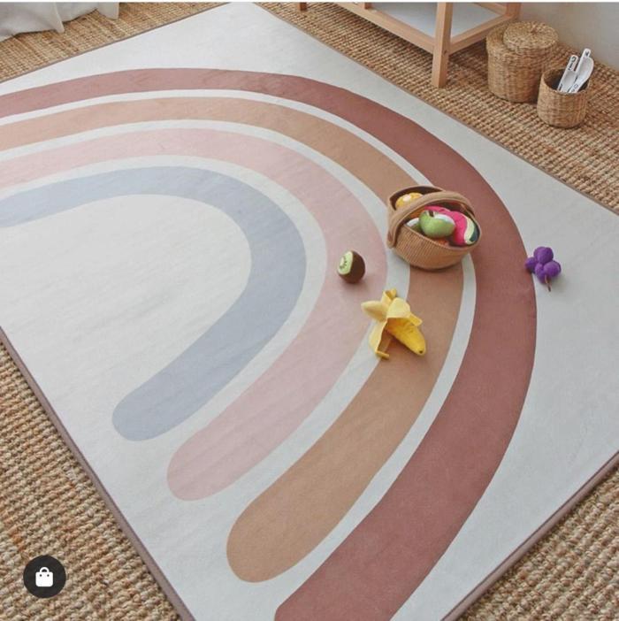 Floor Mat Newborn Baby Crawling Mat Rainbow Pattern Kids Play Mat Rugs Children Bedroom Carpet