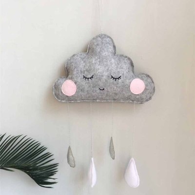 Baby Kids Room Home Decoration Wall Hanging Accessories Pendant Toys Nordic Felt Cloud Wall Decor