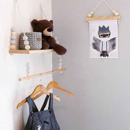 Nordic Wooden Shelf Storage Rack Holder with Bead Tassel Baby Kids Bedroom Wall Hanging Home Decor