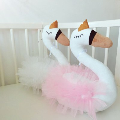 Plush Stuffed Animal Head Swan Nursery Baby Comfort Dolls Toys for Girls Kids Bedroom Accessories
