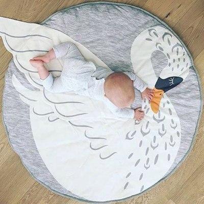 90CM Baby Play Crawling Mat Pad Round Carpet Rugs Cotton Animal Playmat Newborn Blanket Floor Carpet Kids Room Decor