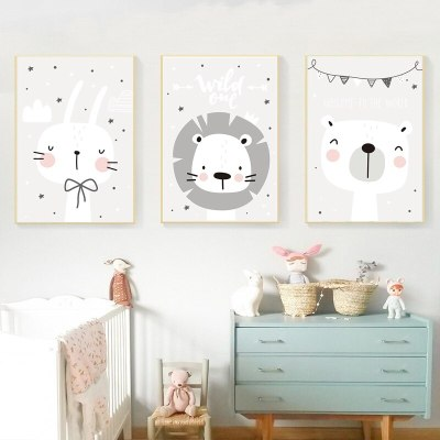 3 Piece Nordic Wall Decor Baby Animal Poster Wall Pictures for Kids Rooms Cartoon Canvas Painting