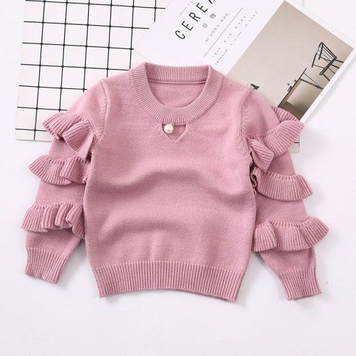 New Children Girls Sweater Knitted Kids Sweaters Ruffles Sleeve Baby Girls Sweaters