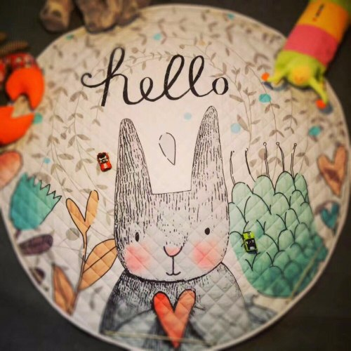 150CM Kids Play Mats Animals Children Crawling Blanket Rug Cotton Round Floor Carpet Toys Storage Bag