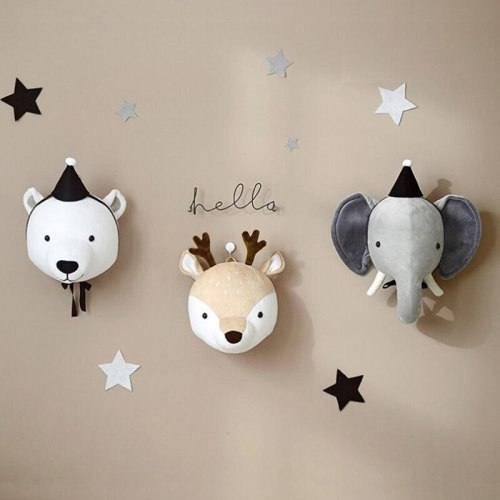 Nursery Decor Animal Heads Wall Hangings for Kids Baby Room Wall Mounted Decoration