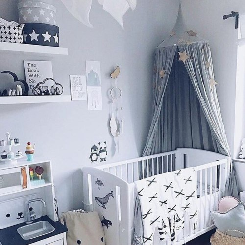 Baby Crib Mosquito Net Canopy Bed Curtains Hanging Play Tent For Children Kids Room Decoration