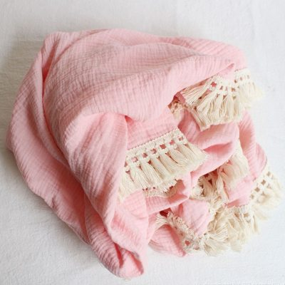 Cotton Muslin Baby Blankets Newborn Swaddle Wrap Blanket Tassel Cotton Baby Receiving Blanket Infant Sleeping Quilt Bed Cover