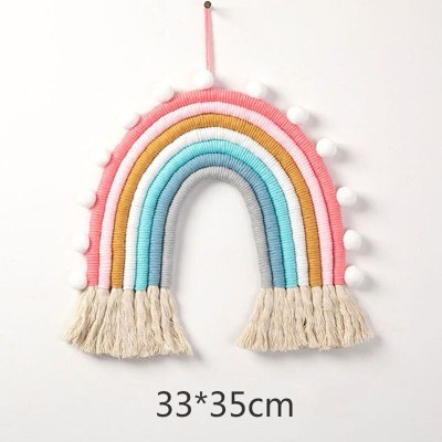 Nordic Kids Room Decoration DIY Rope Rainbow Decor Wall Hanging Handmade Weaving Ornament Home Decor Accessories