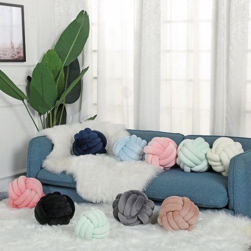 Solid Colors Sleeping Plush PP Cotton Stuffed Handmade Knotted Ball Futon Cushion Home Decor