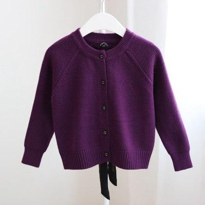 Winter Baby Long Sleeve Back Bowknot Belt Kids Girls Knitwear Cardigan Coat