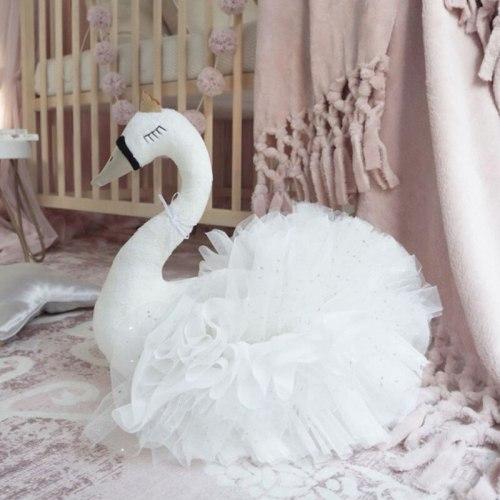 Plush Stuffed Animal Head Swan Nursery Baby Comfort Dolls Toys for Girls Kids Bedroom Accessories