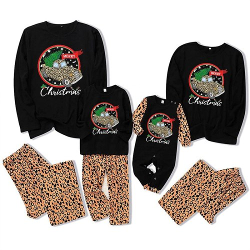 Merry Christmas Family Leopard Christmas Pajamas Mommy and Me Family Matching Clothes Soft Sleepwear