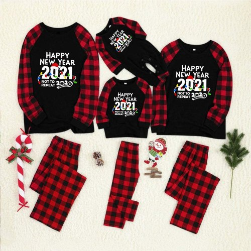 Christmas Plaid Print Pijamas Family Matching Clothes 2021 Happy New Years Long Sleeve Top and Pants Set