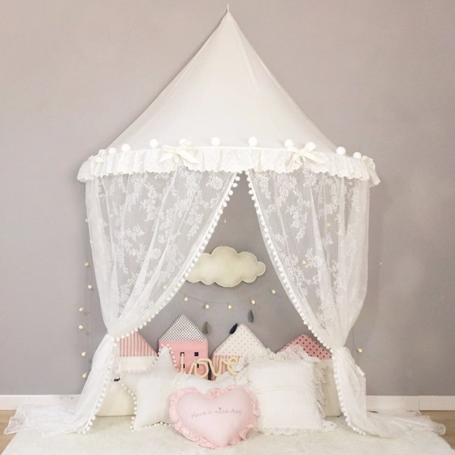 Princess Canopy Curtain Hanging Baby Bed Tent Mosquito Net Kids Play House Children Teepee