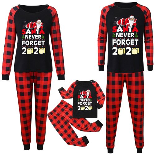 Letter Printed Christmas Family Matching Clothes Pajamas Xmas Long Sleeve Top and Printed Pants Family Clothes Pajamas Outfits