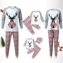 Christmas Family Matching Clothes Long Sleeve Letter Printed Top and Pants Xmas Family Clothes Pajamas Set