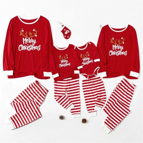 Christmas Pajamas Family Matching Clothes Long Sleeve Letter Print Top and Stripe Pants Family Clothes Outfits Set