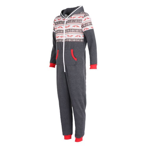 Christmas Family Matching Pajamas Warm Jumpsuit Sleepwear New Year's One-Piece Hooded Zip Clothes