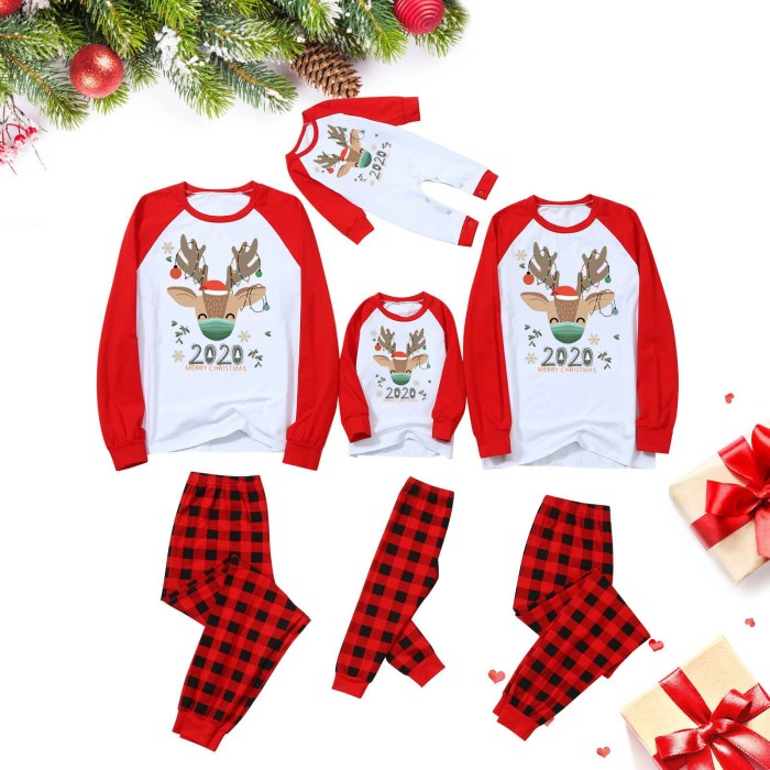 Elk Printed Christmas Family Matching Clothes 2020 Cartoon Top  with Plaid Pants Family Pajamas Clothes