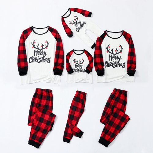 Christmas Pajamas Family Matching Clothes Deer Plaid Long Sleeve Family Matching Xmas Sleepwear Set
