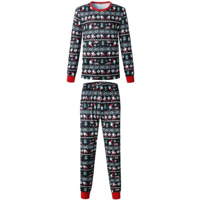Christmas Parent-child Warm Family Matching Clothes Printed Home Wear Pajamas Two-piece Set