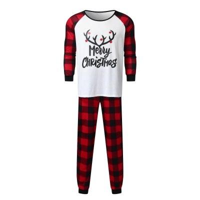Christmas Pajamas Family Matching Clothes Deer Plaid Long Sleeve Family Matching Xmas Sleepwear Set