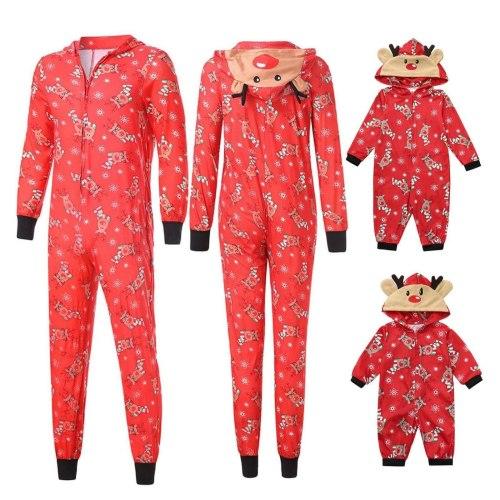 Christmas Deer pijamas Sleepwear Hoodies Deer Print Tops and Pants Family Matching Clothes Pjs Set
