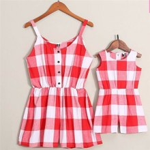 Brand New Mother&Daughter Clothes Parent-child Plaid Romper Family Matching Women Kids Baby Girls Strappy Playsuits
