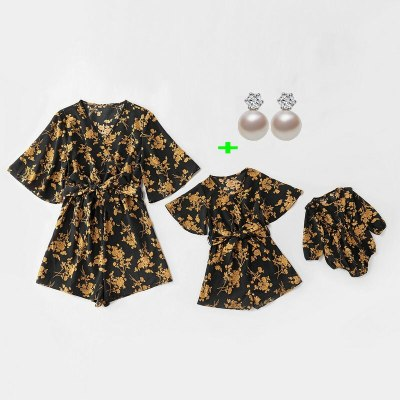 Family Look Matching Clothes Outfits Long Sleeve Overalls For Mother Daughter Kids Baby Girls Romper