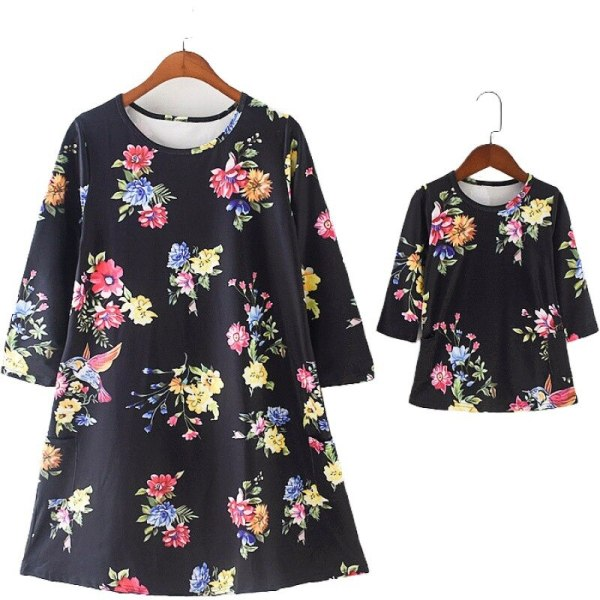 Long Sleeve Mum and Daughter Clothes Floral Mommy And Me Dress Family  Dresses Outfits Baby Kids Girls Women