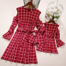 Family Dress Mother and Daughter Matching Dress Ruffles Long Sleeve Off Shoulder Plaid Print Sashes Knee-Length A-Line Dress