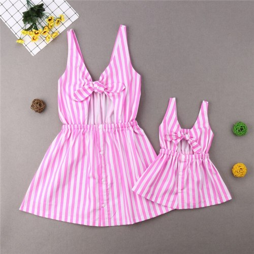 Mother Daughter Summer Striped Dress Family Matching Women Kid Girl Cotton Clothes Sleeveless Strap Bow Collar Knee-Length Dress