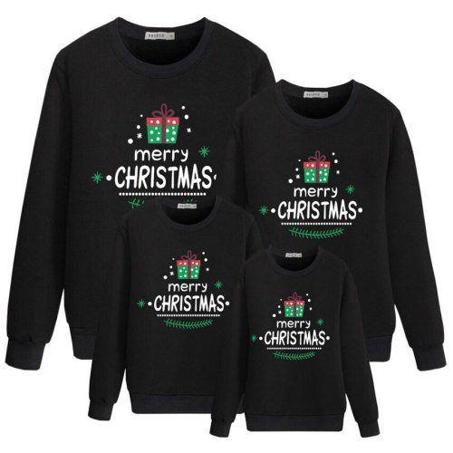 New Family Christmas Sweaters Children Parents Black Fashion Winter Costume Mommy and Daughter Matching Clothes