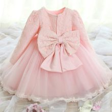 Winter Baby Girl Dress 1 year Birthday Dress Lace Baptism Bowknot Princess Dresses for Wedding Party