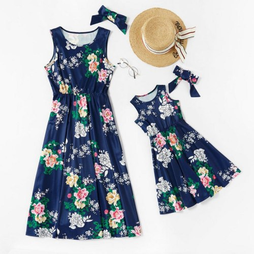 Sleeveless Family Dress Clothes For Mother And Daughter With Headband Floral Blue Mom Daughter Kids Dresses