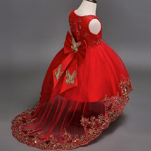 Elegant Embroidered Flower Girls Evening Dress