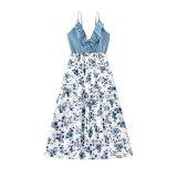 Family Matching Outfits Summer Clothes Floral Dress Blue Shirt Kids Children Parent Clothes