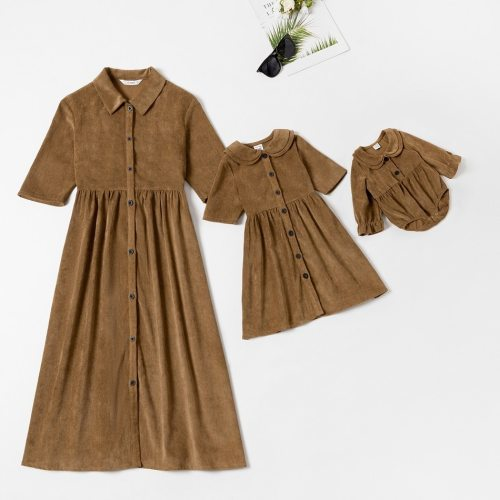 Mommy and Me Front-button Shirt collar Midi-sleeve Solid Dresses casual Family Matching Dresses