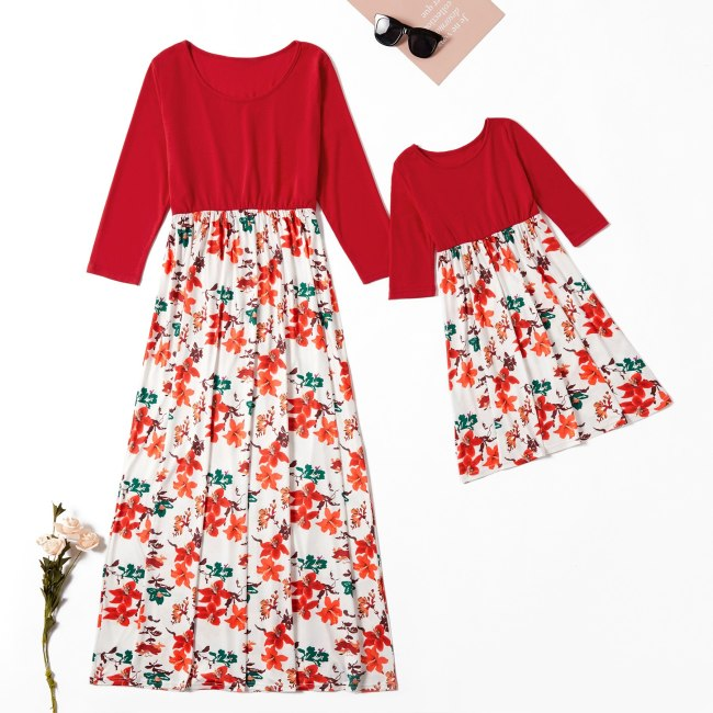 Floral mother daughter matching dresses mommy and me clothes family look full sleeve dress