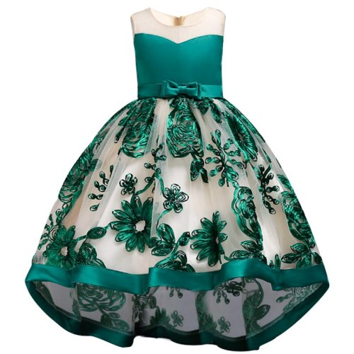 Girls Embroidery Elegant Pageant Party Princess Dress