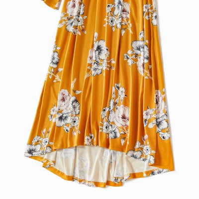 Mother And Daughter Off Shoulder Sleeve Dress Clothes Family Matching Summer Outfits Yellow Floral Mom Daughter Baby Girls Dress