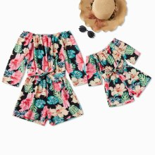 Matching Off Shoulder Mommy And Me Clothes Dress Family Look Summer Dresses Beach Clothes