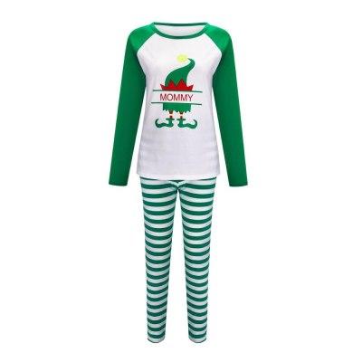 Christmas home clothes parent-child suits Christmas hats printed parent-child family pajamas family cotton clothes